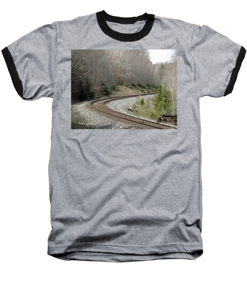 Train It Coming Around The Bend Baseball T-Shirt by Brenda Brown