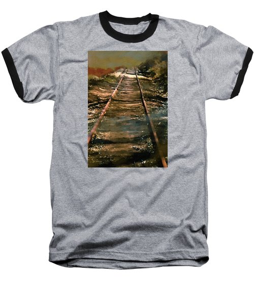 Train Track To Hell Baseball T-Shirt by RC deWinter