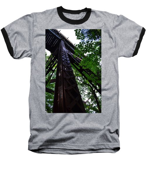 Train Trestle In The Woods Baseball T-Shirt