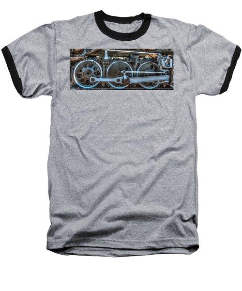 Train Wheels Baseball T-Shirt by Paul Freidlund