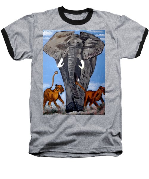 Baseball T-Shirt featuring the painting Trampling Elephant by Nora Shepley