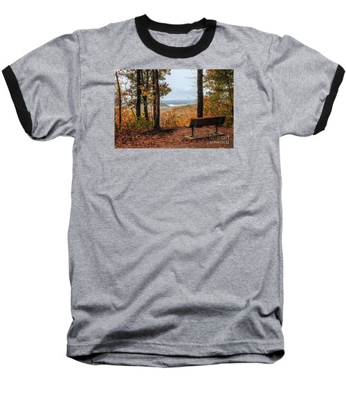 Baseball T-Shirt featuring the photograph Tranquility Bench In Great Smoky Mountains by Debbie Green