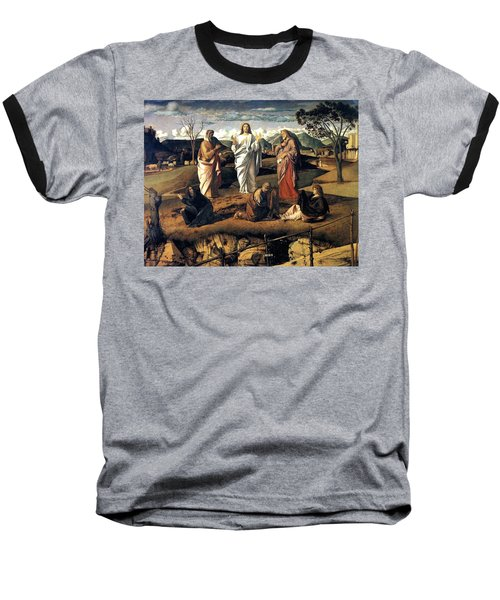 Baseball T-Shirt featuring the painting Transfiguration Of Christ 1487 Giovanni Bellini by Karon Melillo DeVega