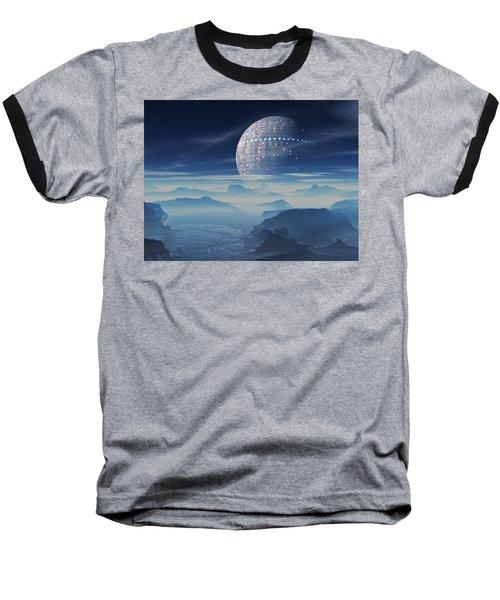 Baseball T-Shirt featuring the digital art Tranus Alien Planet With Satellite by Judi Suni Hall