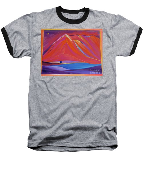Baseball T-Shirt featuring the painting Travelers Pink Mountains by First Star Art