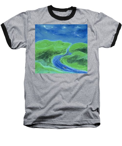 Baseball T-Shirt featuring the painting Travelers Upstream By Jrr by First Star Art