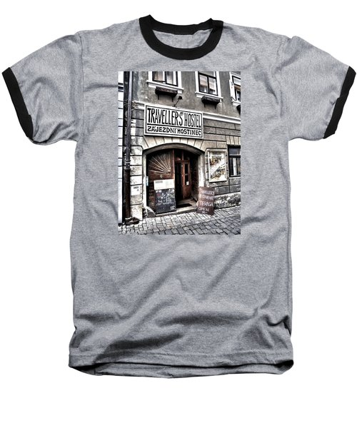 Baseball T-Shirt featuring the photograph Travellers Hostel - Cesky Krumlov by Juergen Weiss