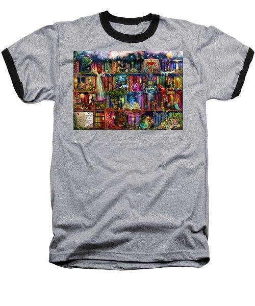 Fairytale Treasure Hunt Book Shelf Baseball T-Shirt by Aimee Stewart