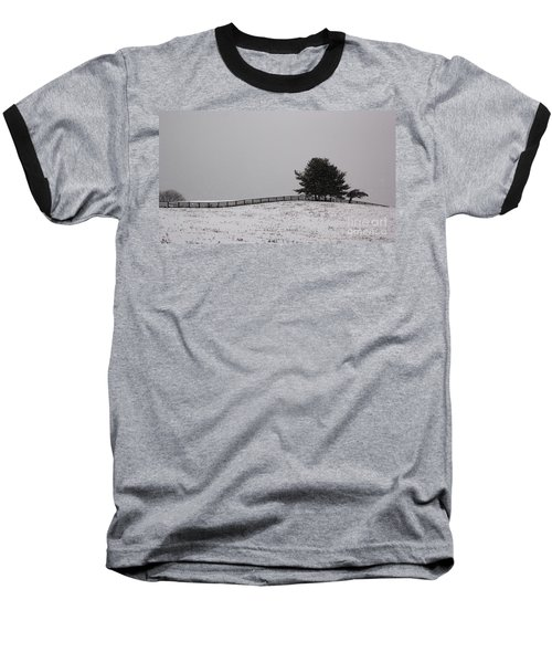 Tree And Fence In Snow Storm Baseball T-Shirt