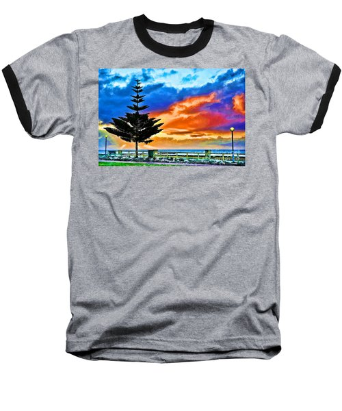 Tree And Sunset Baseball T-Shirt by Yew Kwang