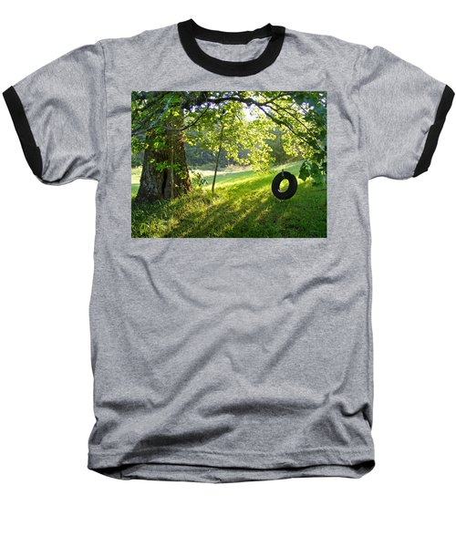 Tree And Tire Swing In Summer Baseball T-Shirt