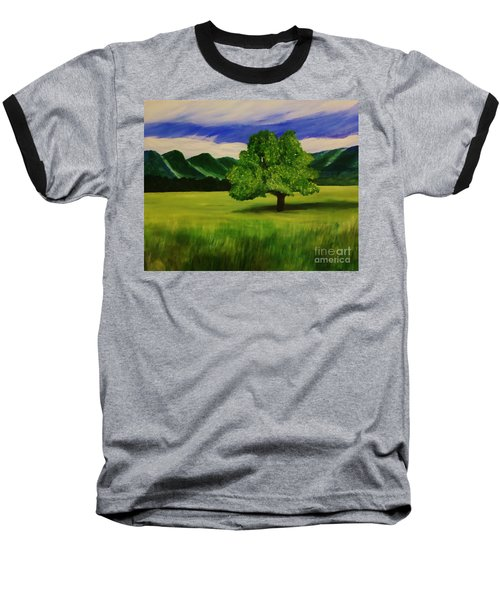 Tree In A Field Baseball T-Shirt by Christy Saunders Church