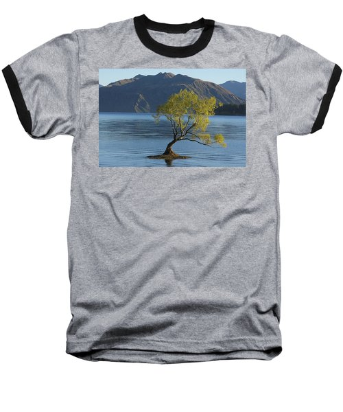 Tree In Lake Wanaka Baseball T-Shirt by Stuart Litoff