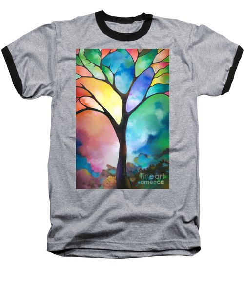 Original Art Abstract Art Acrylic Painting Tree Of Light By Sally Trace Fine Art Baseball T-Shirt