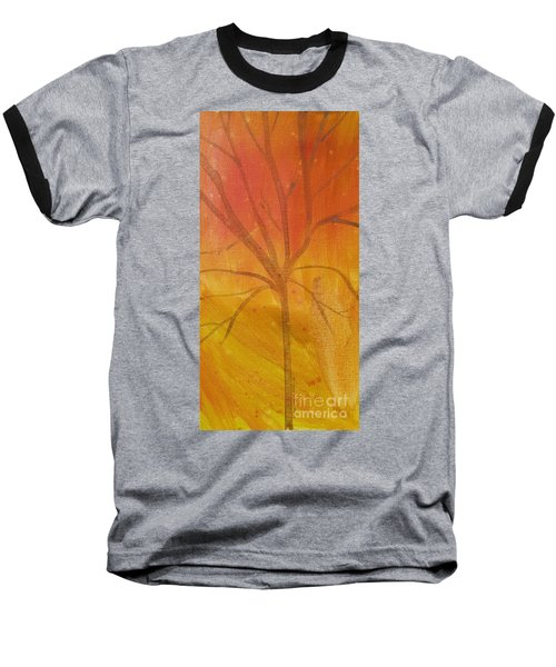 Baseball T-Shirt featuring the painting Tree Of Three Gold by Robin Maria Pedrero