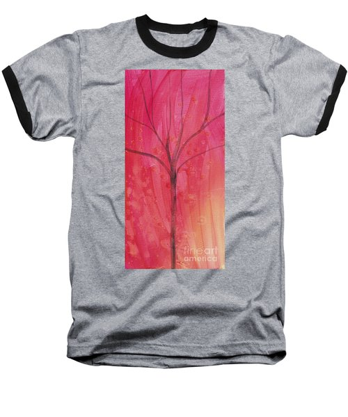 Baseball T-Shirt featuring the painting Tree Of Three Pink by Robin Maria Pedrero