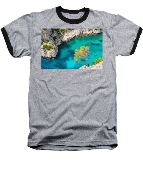 Tree On Turquoise Waters Baseball T-Shirt