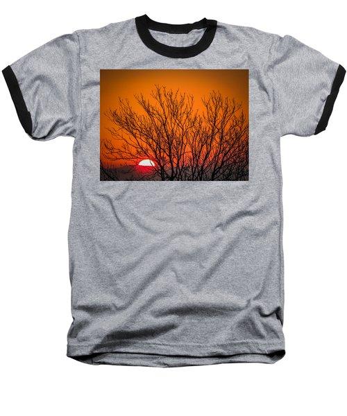 Tree Silhouetted By Irish Sunrise Baseball T-Shirt