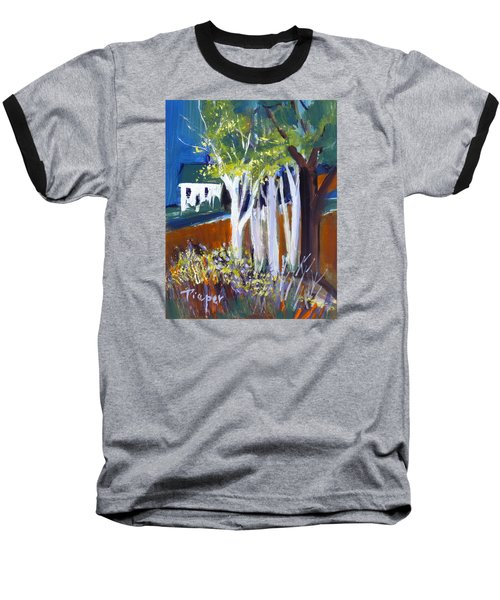 Baseball T-Shirt featuring the painting Trees And White Farm House by Betty Pieper