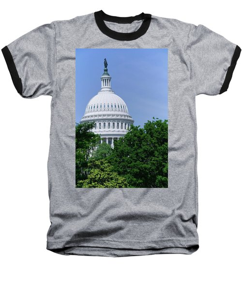 Trees In Spring And U.s. Capitol Dome Baseball T-Shirt