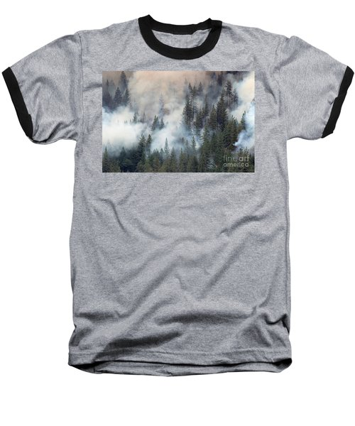 Beaver Fire Trees Swimming In Smoke Baseball T-Shirt
