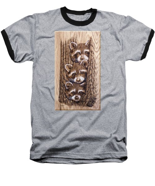 Baseball T-Shirt featuring the pyrography Tres Amegos by Ron Haist