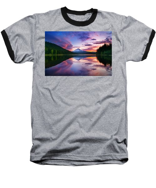 Trillium Lake Sunrise Baseball T-Shirt