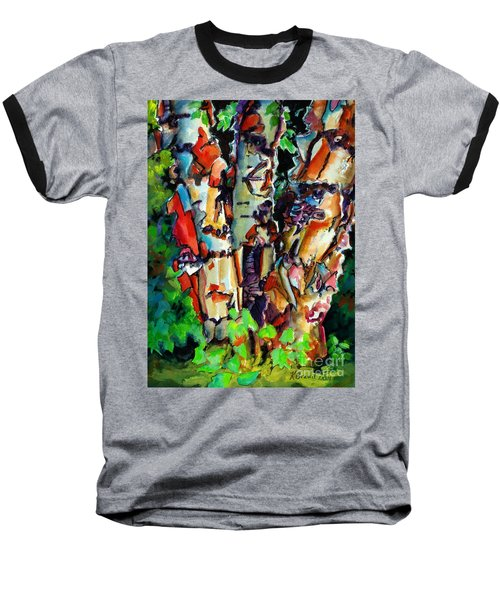 Baseball T-Shirt featuring the painting Trio Birch 2014 by Kathy Braud
