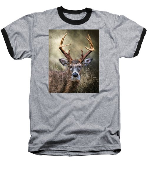 Baseball T-Shirt featuring the digital art Trophy 10 Point Buck by Mary Almond