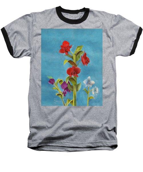 Tropical Flower Baseball T-Shirt
