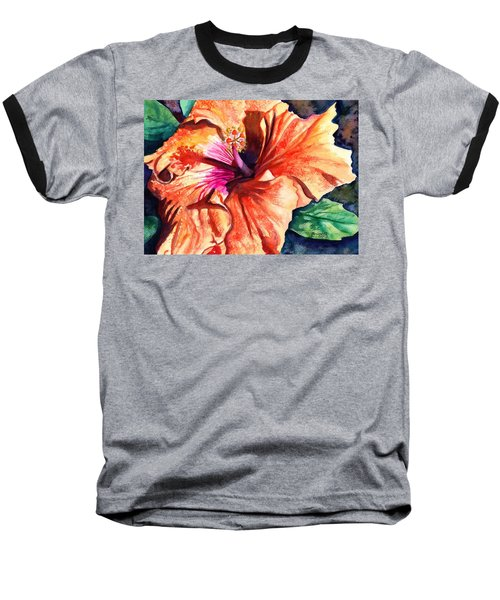 Tropical Hibiscus Baseball T-Shirt