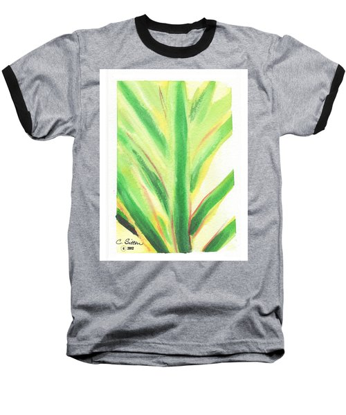 Baseball T-Shirt featuring the painting Tropical Leaf by C Sitton