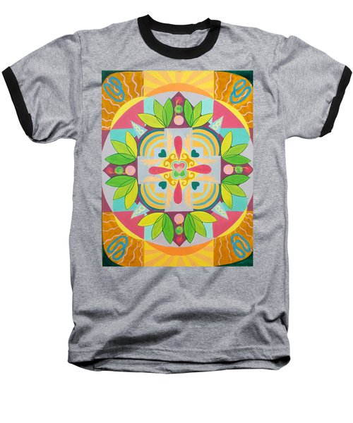 Tropical Mandala Baseball T-Shirt