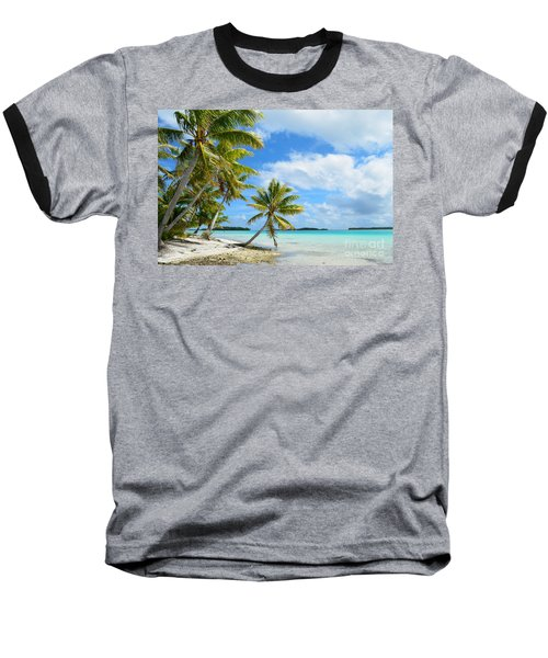 Tropical Beach With Hanging Palm Trees In The Pacific Baseball T-Shirt