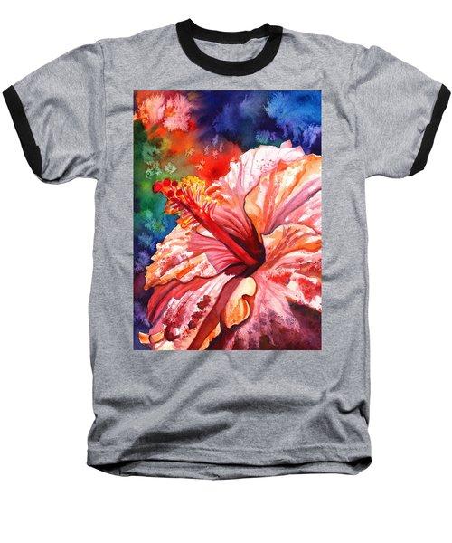 Tropical Pink Hibiscus Baseball T-Shirt