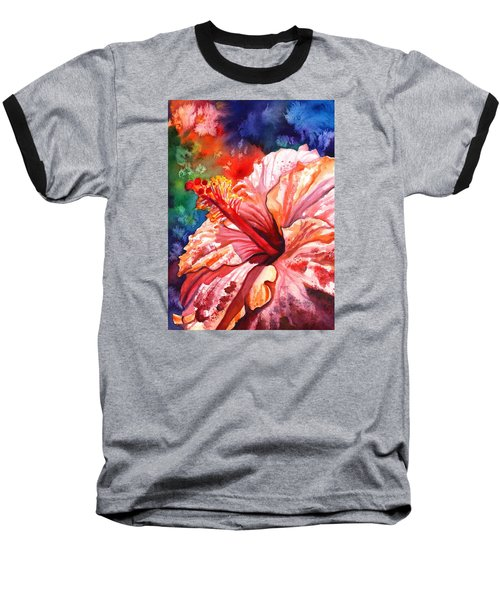 Tropical Pink Hibiscus Baseball T-Shirt