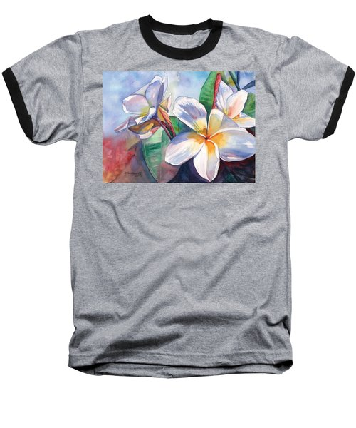 Tropical Plumeria Flowers Baseball T-Shirt