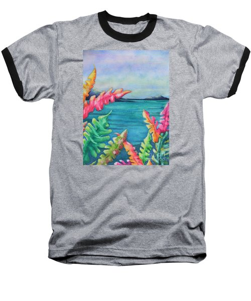 Tropical Scene Baseball T-Shirt by Chrisann Ellis