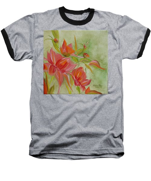 Baseball T-Shirt featuring the painting Tropical Splash by Judith Rhue
