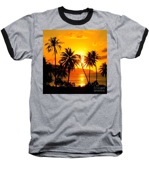 Tropical Sunset Baseball T-Shirt by Scott Cameron