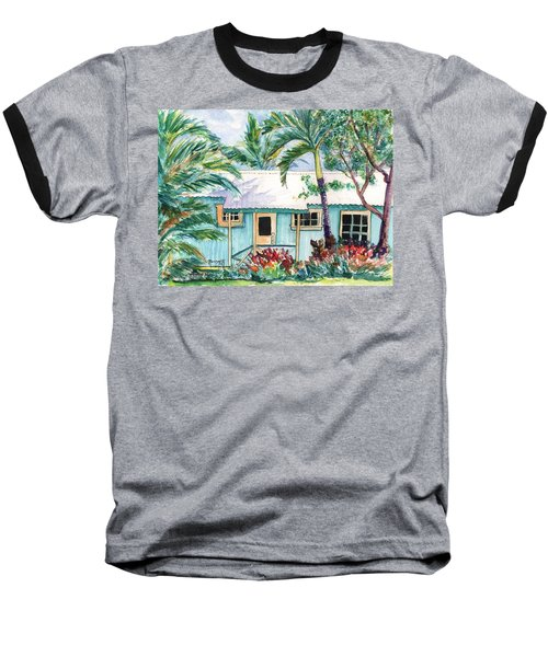 Tropical Vacation Cottage Baseball T-Shirt by Marionette Taboniar