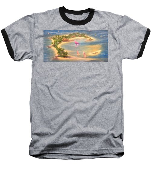 Tropical Windy Island Paradise Baseball T-Shirt
