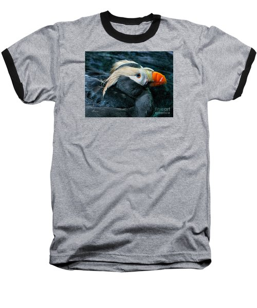 Tufted Puffin Profile Baseball T-Shirt by Jennie Breeze
