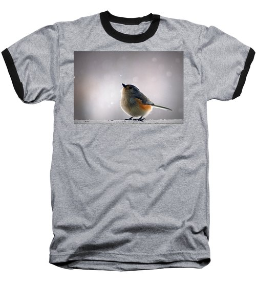 Tufted Titmouse Baseball T-Shirt by Cricket Hackmann