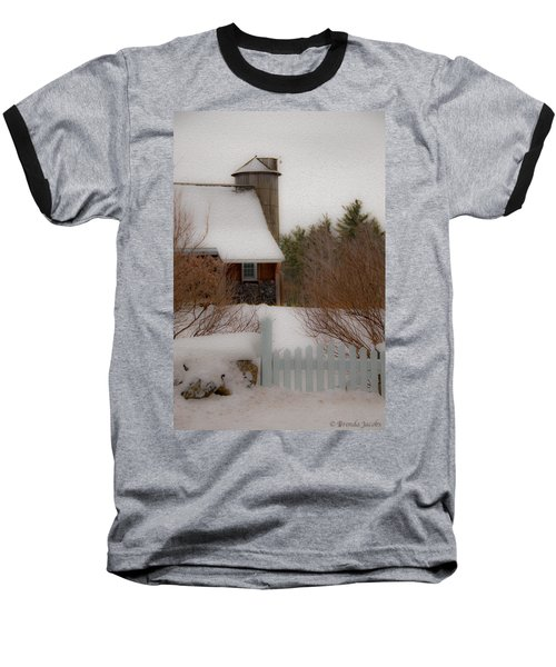 Tuftonboro Farm In Snow Baseball T-Shirt