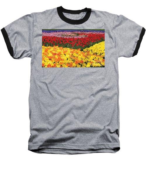 Baseball T-Shirt featuring the digital art Tulip Field by Tim Gilliland