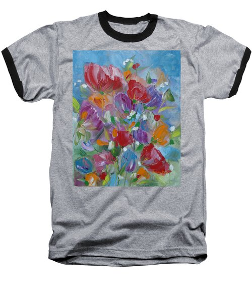 Baseball T-Shirt featuring the painting Tulip Symphony by Judith Rhue