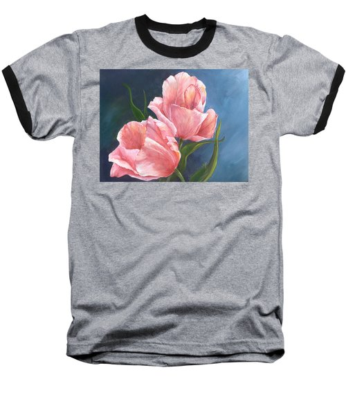 Baseball T-Shirt featuring the painting Tulip Waltz by Sherry Shipley