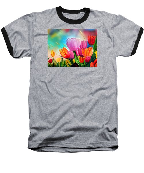 Tulipa Festivity Baseball T-Shirt by Angel Ortiz