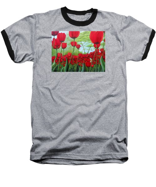 Tulipanes  Baseball T-Shirt by Angel Ortiz
